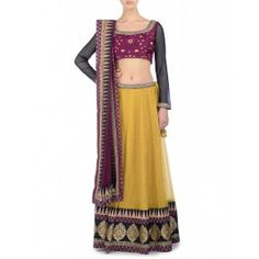 Sunglow Yellow Lengha set with Embroidery
