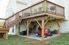 Raised Deck Storage and waterproofing under the deck. Sponsored by Wayfair. - Deck Storage - Ideas of Deck Storage Deck Building Plans, Building A Porch, Deck Plans, Under Deck Storage, Deck Enclosures, Raised Deck, Under Decks, Deck Construction, Cool Deck