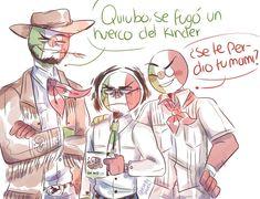Me imagino a don Carlitos, a norte y a sur como tres hermanos xd JAJSHJAJA YO IGUAL XDDD Aunque si eso ocurriera, definitivamente a Don Carlitos se le quitaría estatura. XD A Norte le creció la barba... Mexico Country, Human Flag, Mundo Comic, Country Art, Beetlejuice, Hetalia, Lol, Fan Art, Cartoon