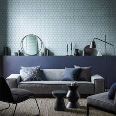 Aikyo brings a hand-crafted look to the Japandi collection from Scion. Drawing on Scandinavian influences, this bold geometric wallpaper design is a great way to add colour to the home. Geometric Wallpaper Design, Bold Wallpaper, Interior Wallpaper, Scandi Wallpaper, Oriental Design, Scion, Trendy Bedroom, Designer Wallpaper, Modern Interior Design