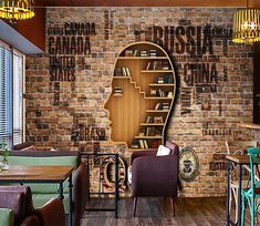 3D Head Vook Shelf 119   AJ Wallpaper Paper Wallpaper, Self Adhesive Wallpaper, New Wallpaper, Cafe Idea, 3d Wall Murals, Vinyl Doors, Traditional Wallpaper, Rustic Interiors, Drywall