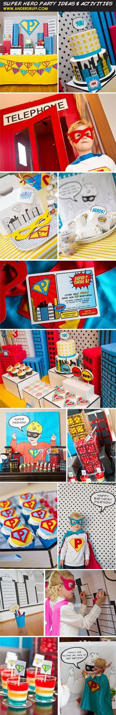Super Hero Party Ideas Galore - Vintage Comic Style Pop Art Super Hero Birthday Party Ideas by Anders Ruff (www.andersruff.com)