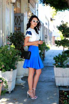 cobalt blue skirt with crop top