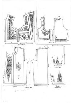 Pattern drawings of a sleeved coat and matching waistcoat, as well as a bodice from the Šumadija region of Serbia (former Yugoslavia), circa :: Blanche Payne Regional Costume Photograph and Drawing Collection Folk Embroidery, Embroidery Patterns, Coat Patterns, Sewing Patterns, Folk Costume, Costumes, Middle Eastern Clothing, Fairy Clothes, Designer Evening Dresses