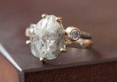 Prong-Set Rose Cut Natural Diamond Ring - 14kt Yellow Gold