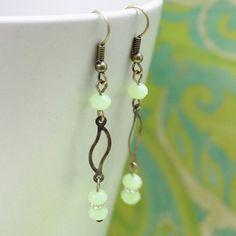 Lime Green Czech Glass Bead Earrings  by carolinascreations, $5.00