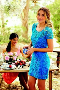 LC Lauren Conrad Blue Lace Summer Dress