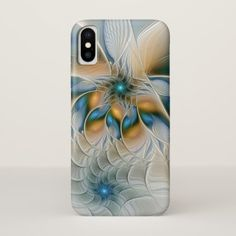 Soaring Abstract Fantasy Fractal Art With Blue iPhone X Case - modern gifts cyo gift ideas personalize