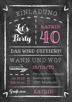 Trendy Einladungskarte zum 40. Geburtstag in modernem Schultafel-Design mit farbigen Akzenten