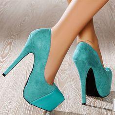 Escarpins women turquoise heels 15 cm size 40, online buy Escarpins woman MODATOI
