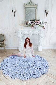 """Absolutely stunning round rug in), doily rug, lavender color carpet Shabby chic, rug for the living room, by LaceMats """"LaceEmma"""" by LaceMats on Etsy Crochet Doily Rug, Crochet Rug Patterns, Crochet Carpet, Crochet Home, Tapis Shabby Chic, Lavender Living Rooms, Cottage Nursery, Manta Crochet, Rustic Rugs"""