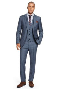 Michael....     'Huge/Genius' | Slim Fit, Super 100 Virgin Wool 3-Piece Herringbone Stripe Suit by BOSS