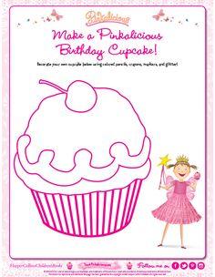 Decorate a Pinkalicious Birthday Cupcake Coloring Page Ballerina Birthday Parties, Birthday Party Games, 4th Birthday Parties, Birthday Party Decorations, Polka Dot Birthday, Pink Birthday, 1st Birthday Girls, Cupcake Party, Birthday Cupcakes