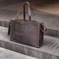 Hudson tote bag minimalist tote large by LUSCIOUSLEATHERNYC