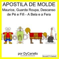 >> Apostila digital com molde do Maurice, Guarda Roupa, Descanso de Pé e Fifi da turma da Bela e a Fera [Conforme imagem], para ser feito em feltro/tecido.  >> Sem PAP. Apenas o molde.  >> Bonecos em 2D.  Nos tamanhos 30cm 40cm e 60cm aproximadamente.  >> A apostila tem 10,5mb, formato PDF, 95 páginas. https://www.facebook.com/inconDYcional/photos/a.811942578856722.1073741827.187805041270482/947227211994924/?type=3&theater