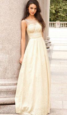 A-Line Sleeveless Empire Backless Floor-Length Chiffon Prom Dresses