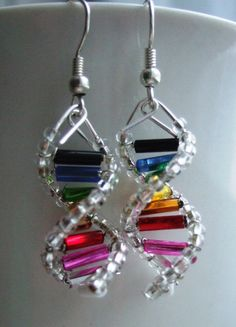 Rainbow DNA earrings by toutdoucement via Etsy