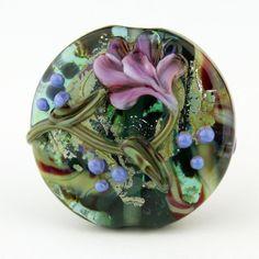 SRA Handmade Lampwork Glass Bead Lentil by StoneDesignsbySheila
