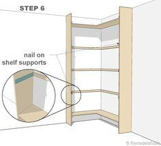 step 6 - corner bult-in bookshelves mod