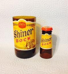 Shiner Bock Shot Glass Chaser Set. Recycled Glass Bottle. Man Cave. on Etsy, $11.00