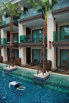 Hotel in Thailand, great concept - swimming pool right outside your hotel room - just step out and jump into the pool