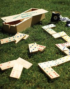 Fun for all ages, these wooden Giant Dominoes can be played indoors or outside and are stored in a great wooden box with a rope handle. Size: Each domino measure x x thick.