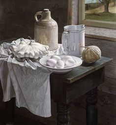 """This outrageously beautiful work is done by Jane Lund.  It is a large pastel, painstakingly done stroke by stroke.  """"White Still Life"""""""