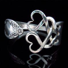 Silver Fork Bracelet in Original Weaving Hearts by MarchelloArt, $29.99