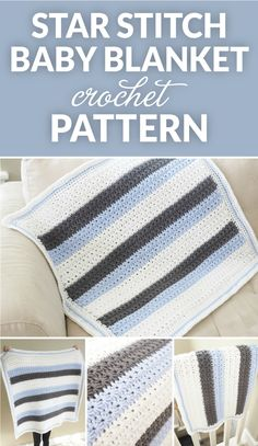 Star Stitch Striped Baby Blanket -  Free Crochet Pattern at Dabbles & Babbles.