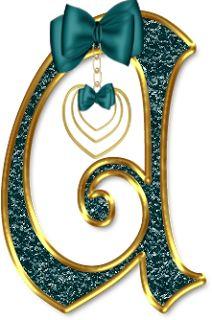 Alfabeto Decorativo: Alfabeto - Laço Verde - PNG - Letras Maiúsculas e ...