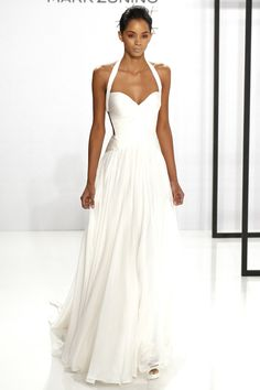 White Halter Top Flowy Dress | Fashion Friday: Mark Zunino Bridal Fall 2017 | http://brideandbreakfast.ph/2016/11/11/mark-zunino-bridal-fall-2017/