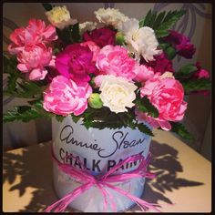 We love the idea of re-using an Annie Sloan paint tin after it's done! These flowers look lovely!