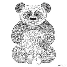 Hand drawn zentangle panda for coloring book for adult,tattoo, shirt design,logo and so on - stock vector Mandala Art, Mandalas Drawing, Animal Pictures To Color, Colorful Pictures, Line Art Design, Panda Coloring Pages, Coloring Book Pages, Zentangle, Swearing Coloring Book