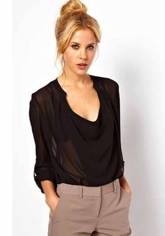 Black Plain Ruffle Long Sleeve Wrap Polyester Blouse