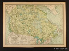 Ontario Map Quebec Canada 1900 Vintage Map Great Lakes Canadian
