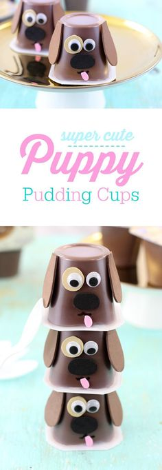 Puppy Pudding Cups to make snacking fun again. Easy to make with foam or construction paper. #APlusEatsandDrinks AD