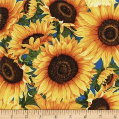 Timeless Treasures Wild Gold Sunflower from @fabricdotcom  Designed by Chong-A Hwang for Timeless Treasures, this cotton print is perfect for quilting, apparel and home decor accents. Colors include shades of yellow, orange, red, brown, green and blue.