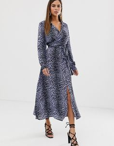 f2a79db96ab7 ASOS DESIGN | ASOS DESIGN wrap front midi dress in leopard print