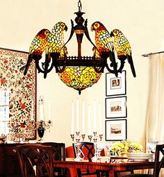 Makernier Vintage Tiffany Style Stained Glass 6 Arms Parrots Chandelier with Inverted Ceiling Pendant Fixture Makenier http://www.amazon.com/dp/B00NW50BOU/ref=cm_sw_r_pi_dp_WpAwvb0V1Q1RF