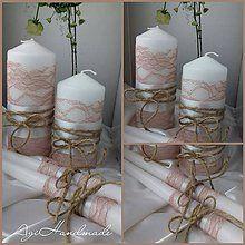 Svadobné pierko jutové s čipkou / AgiHandmade - SAShE.sk - Handmade Pierka Pillar Candles, Jute, Candles