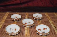 """5 Asian Porcelain Dipping Bowls Brown & White w/ symbols 3""""x1"""" #Unknown"""