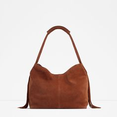 Image 1 of LEATHER BUCKET BAG WITH TASSELS from Zara