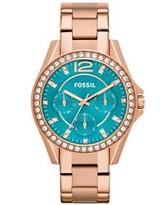 Fossil Watch, Women's Riley Rose Gold-Tone Stainless Steel Bracelet 38mm ES3385 - For Her - Jewelry & Watches - Macy's I need this in my life!
