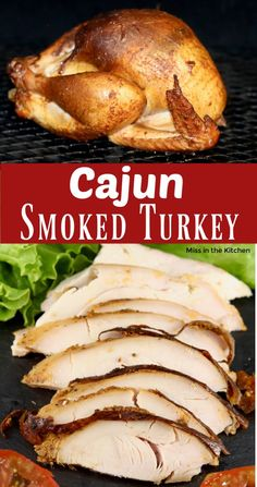 Cajun Smoked Turkey is loaded with flavor. A great addition to any holiday meal or great to make ahead for sandwiches. Easy to make at home and so much tastier than what you will find at the deli. Best Soup Recipes, Smoker Recipes, Grilling Recipes, Meat Recipes, Cooking Recipes, Smoke Turkey Recipes, Aloo Recipes, Traeger Recipes, Grilling Ideas