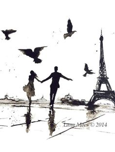 Paris amour Romance tirage d'Art de la peinture aquarelle originale - Illustration Aquarelle par Lana Moes