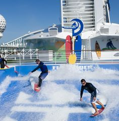 Royal Caribbean's Flowrider amateur surfer's simulator .  Surf at sea on a #Cruise Www.jdevito.cruiseone.com