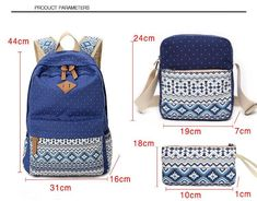 Canvas Dot Backpack Cute Lightweight Teen Girls Backpacks School Shoulder Bags Alando Backpack Set Blue * Learn more by visiting the image link-affiliate link. Cheap Backpacks, Girl Backpacks, School Backpacks, Canvas Backpack, Backpack Bags, Messenger Bags, Backpack Pattern, Shoulder Bags For School, Creation Couture