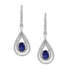 Silver cubic zirconia and synthetic blue sapphire drop earrings. Sapphire Jewelry, Sapphire Earrings, Gemstone Jewelry, Diamond Jewelry, Drop Earrings, Diamond Wedding Bands, Wedding Rings, Quality Diamonds, Hairdos