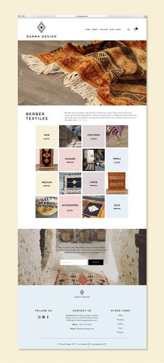 Moroccan rugs and home goods website design on Sqaurespace with Brine Template. #squarespace #logodesign #morrocanrugs #homegoods #website #webdesign