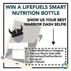 INSTACONTEST REMINDER: We had so much fun at the Warrior Dash World Championship and now we want to see your BEST selfies. The rules are simple: Post your Warrior Dash selfie, tag us, and use the hashtag #FuelYourWarrior. Contest ends THURSDAY 10/15 at MIDNIGHT. The winner of a LifeFuels smart nutrition bottle will be announced on Oct. 16. GOOD LUCK #LifeFuels #FindYourFuel #WDTN #WarriorNation #WD2015 #Health #Nutrition #Fitness #Wellness